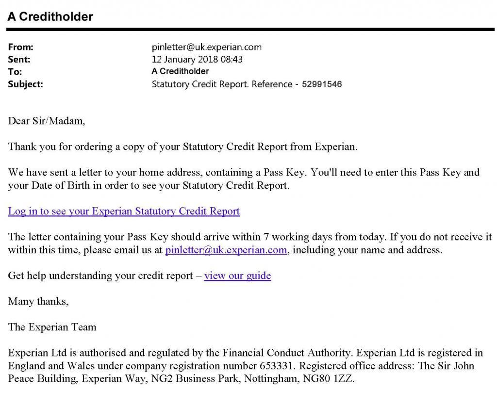 Experian Statutory Credit Report Email with link