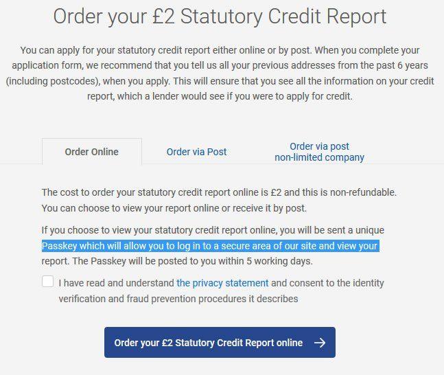 Experian Statutory Credit Report Terms