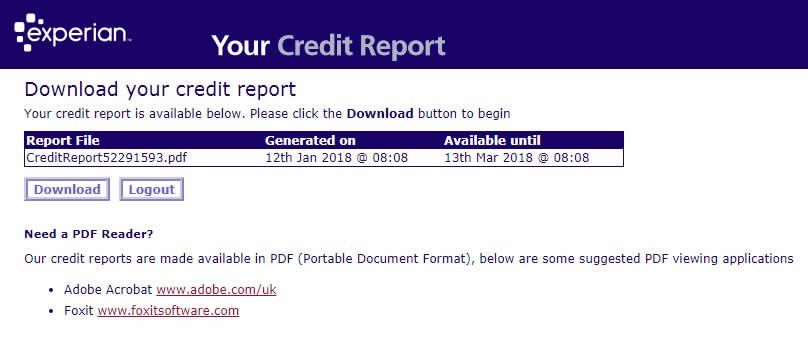 Experian Statutory Credit Report Download Page