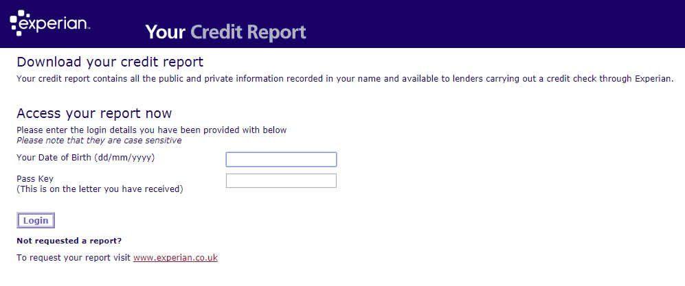 Experian Statutory Credit Report Download Login
