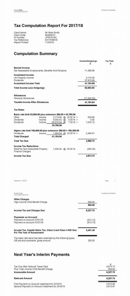 Tax Calculations from Accountant example